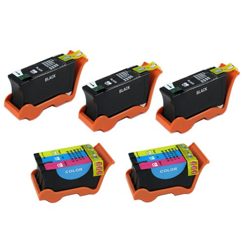 Amsahr U313R Compatible Replacement Dell Ink Cartridges for Select Printers/Faxes - 3 Black/2 Color (Select Ink Dell)