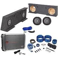 07-13 GMC/Chevy Sierra/Silverado Crew Sub Box+(2) Kicker 10 Subwoofers+Amp+Kit
