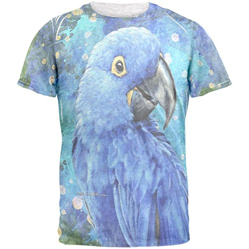 Animal World Blue Hyacinth Macaw Splatter Mens T Shirt Heather White -