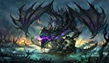 Masters of trade Zombie Dragon TCG playmat, gamemat 24'' wide 14'' tall for trading card game smooth cloth surface rubber base