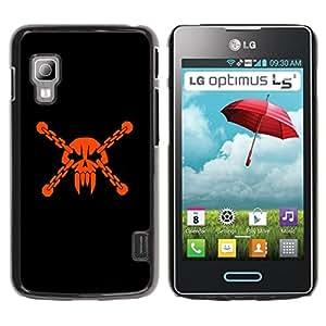 Qstar Arte & diseño plástico duro Fundas Cover Cubre Hard Case Cover para LG Optimus L5 II Dual E455 / E460 / Optimus Duet ( Skull Head Pirate Mask Vampire Teeth Orange)