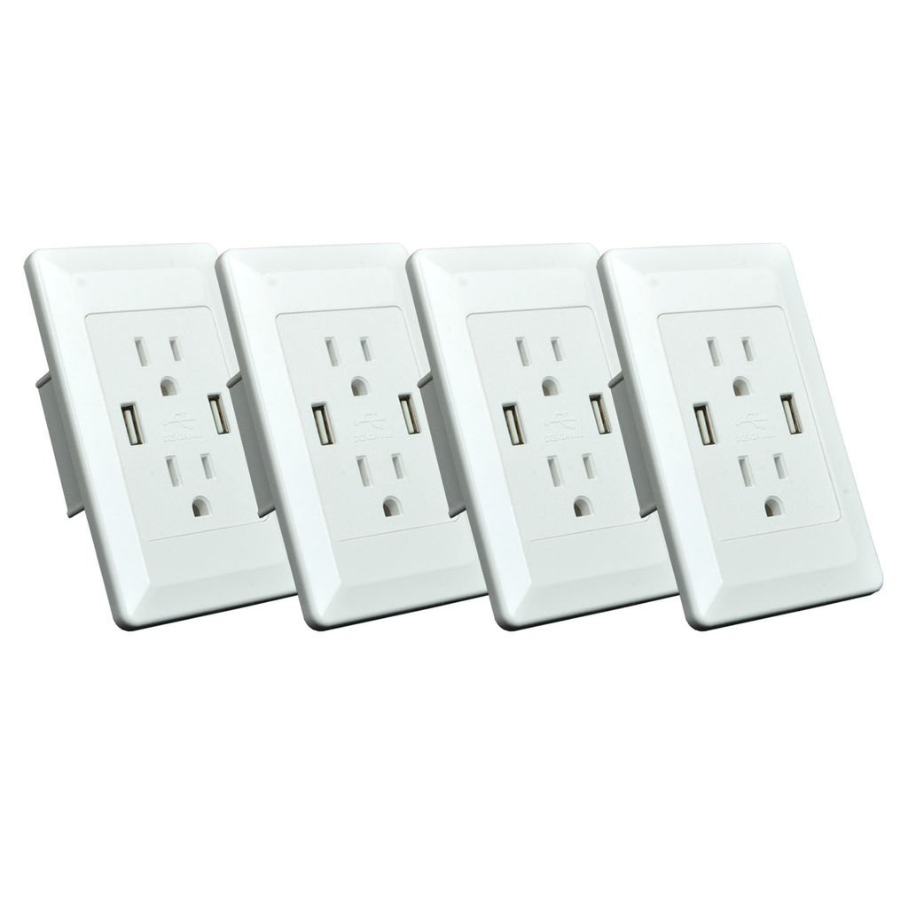 GREENCYCLE 4 Pack Dual USB Port Charger Outlet 15A Electric Wall Charger Power Panel Plate Dock Station Socket