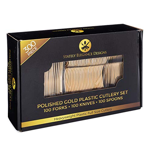 Gold Plastic Knives - Stately Elegance Designs 300 Piece Gold Plastic Silverware Set – Includes 100 Forks, 100 Knives and 100 Spoons – Looks Like Gold Cutlery – Heavy Duty Durable Disposable Flatware Set