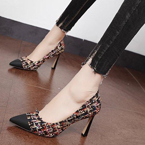 Xue Qiqi Pumps Mode buchstabiere Farbe Licht Licht Licht - einzelne Schuhe kleine duftende wind Tipp weiblichen high-heeled fein mit Damen Schuhe Schwarzes Gold ee75e7
