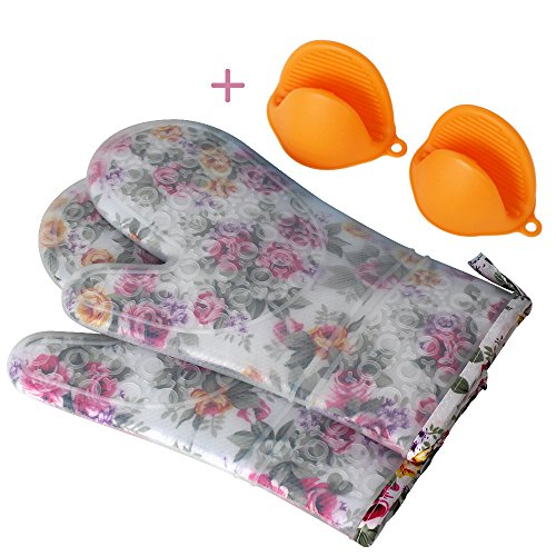 Flower Mitt (Silicone Oven Mitts with Quilted Cotton Lining - Heat Resistant Kitchen Gloves, Matching Mini Oven Mitts (Flower))