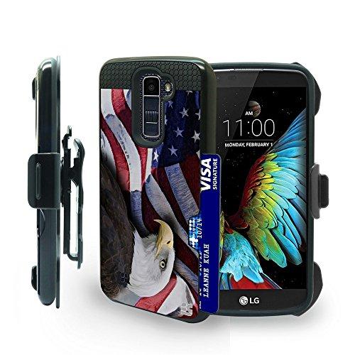 Beyond Cell LG K10 Case, LG Premier LTE Case, L61AL, L62VL, Heavy Duty Full Body Protection Hybrid Slim Armor Metallic Case With Card Slot & Belt Clip Holster -Eagle W/American - Case Lte Access Metallic Lg