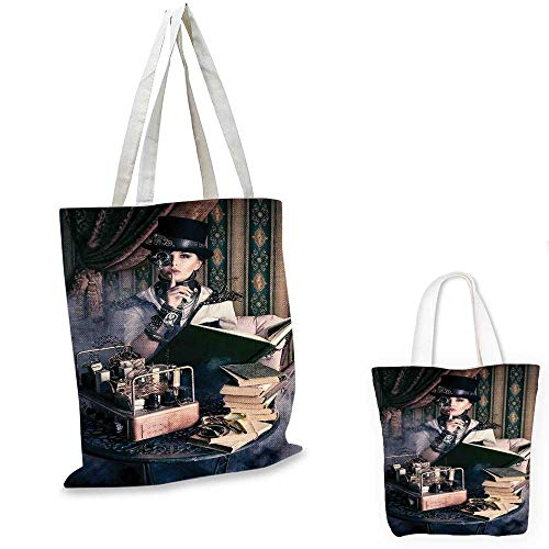(Gothic easy shopping bag Portrait of Steampunk Woman with Medieval Vintage Outfit Historic Fashion Art Photo canvas beach bag Brown Teal.)