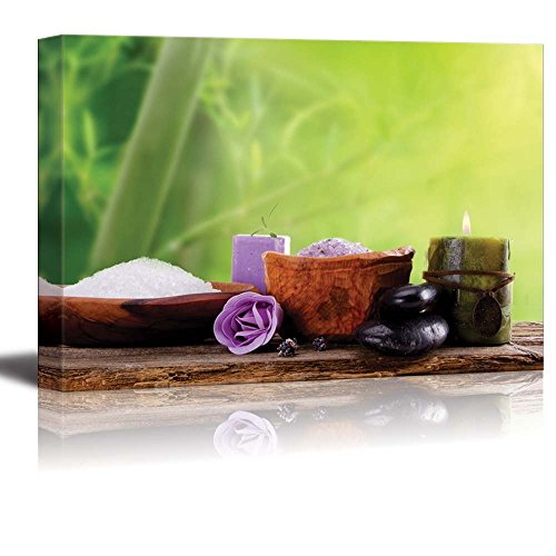 Spa Treatment Therapy Concept with Bamboo Bath Salt and Candle Wall Decor