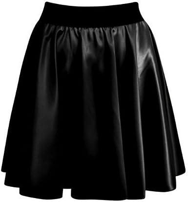 New Women Ladies High Waist Wet Look PVC Faux Leather Flared Skater Mini Skirt