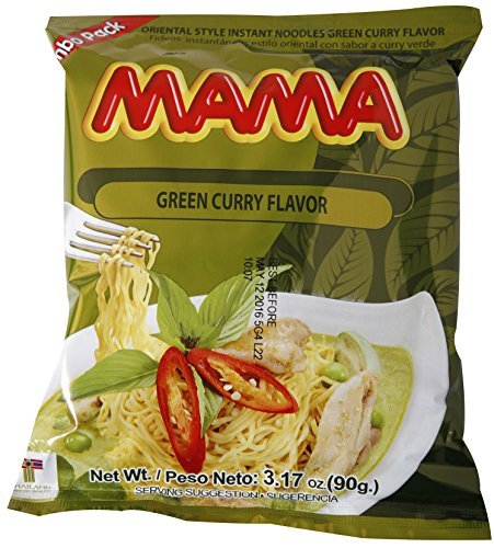 (Mama Ramen Instant Noodles Green Curry Flavor (90g - 3.17oz) - Jumbo Pack of 20)