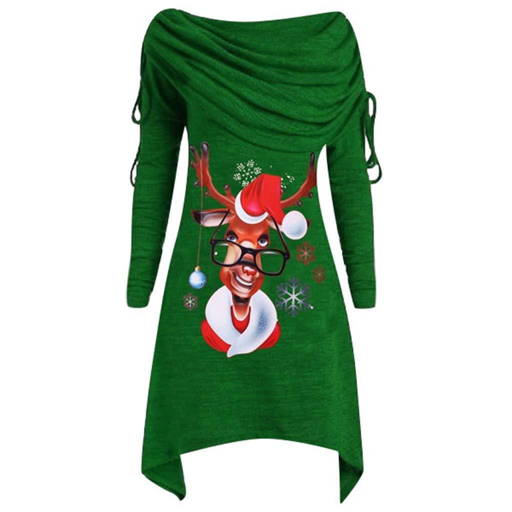 Sunnywill Sweatshirt de Noël, Femmes Joyeux Noël Père Noël Imprimé Flocon de Neige Tops Manche Longue Pull