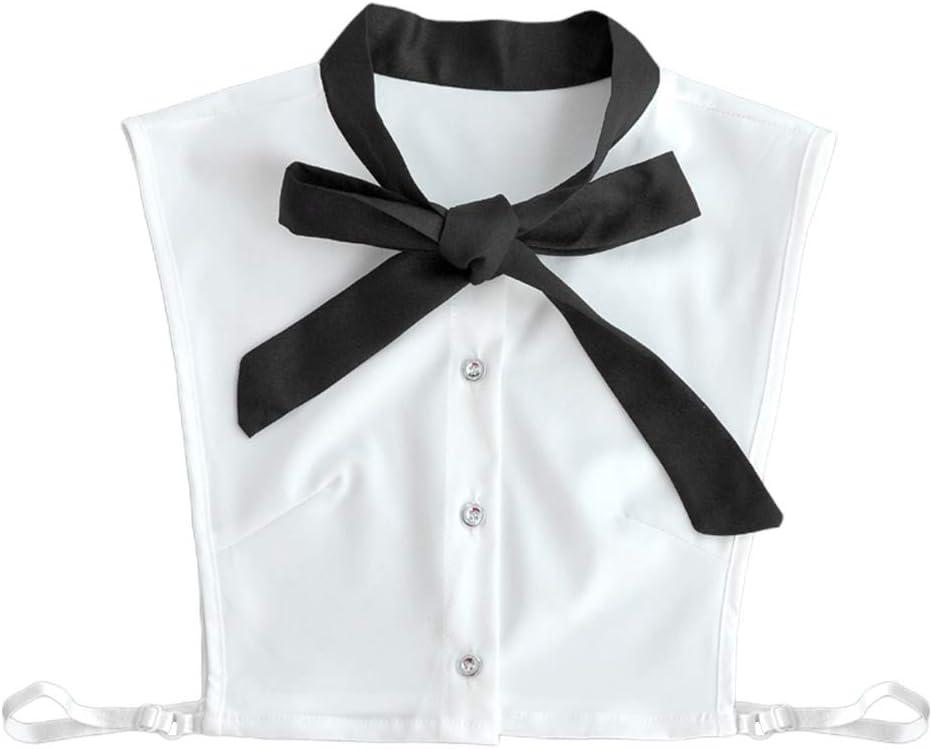 JOYKK Mujeres Gasa Falso Falso Cuello Blanco Pajarita Blusa Desmontable Media Camisa - Oscuro: Amazon.es: Hogar