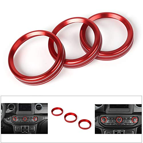 Artudatech 3PCS Aluminum AC Climate Control Ring Knob Covers For Jeep Wrangler JL 2018+ RED ()