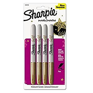 Sharpie Metallic Permanent Markers, Gold, 4/Pack