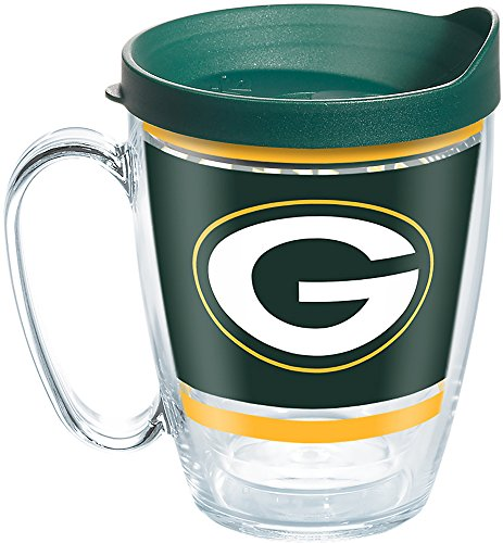 Tervis 1257343 NFL Green Bay Packers Legend Tumbler with Wrap and Hunter Green Lid 16oz Mug, Clear