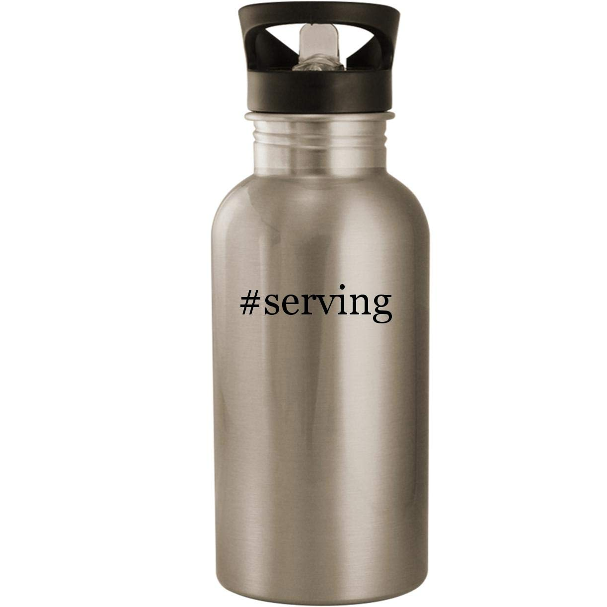 #serving - Stainless Steel Hashtag 20oz Road Ready Water Bottle, Silver