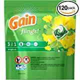 (PACK OF 120 PODS) Gain Flings! ORIGINAL Laundry Detergent PACS. High Efficiency & Non-High Efficiency. Detergent + Stain Remover + FEBREZE! All Temperatures. (120 PODS in Each Package)
