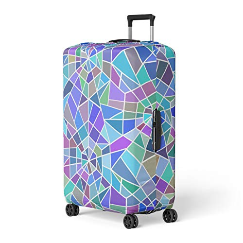 Pinbeam Luggage Cover Blue Pattern Broken Stained Glass Window Colorful Abstract Travel Suitcase Cover Protector Baggage Case Fits 18-22 inches