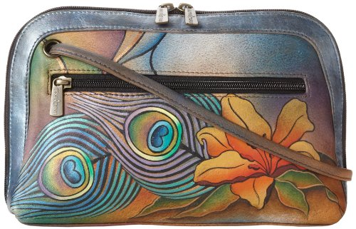Anuschka Women's Genuine Leather Zip Bag | Hand Painted Original Artwork | Multi Compartment All Round Zip | Peacock Lily