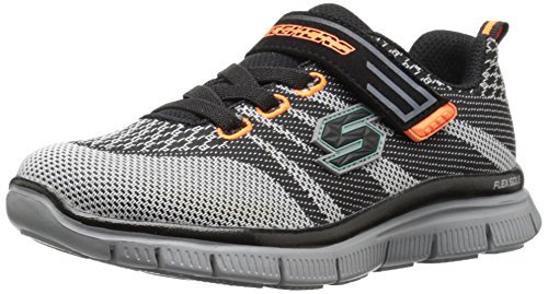 Skechers Kids Flex Advantage Master Mind Sneaker (Little Kid/Big Kid), Black/Grey, 13 M US Little Kid