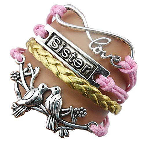 Ac Union ACUNIONTM Handmade Owl Cross Heart Birds Healing Dragon Dog Believe Heart Dragonfly Sister Friendship Gift Leather Bracelet (Kiss Birds+Sister-Gold) ()