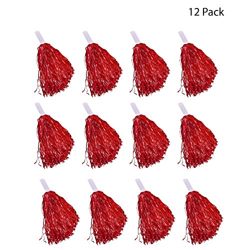 Windy City Novelties Cheerleader Pom Poms - 12 Pack (Red)