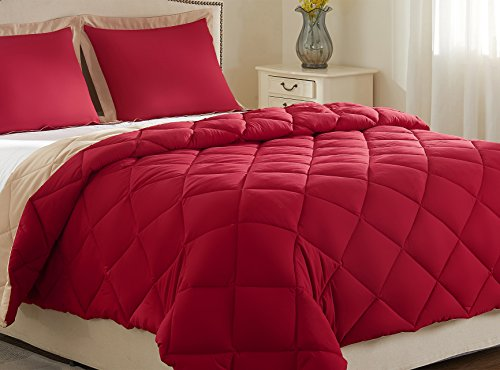 downluxe Lightweight Solid Comforter Set (Queen) with 2 Pillow Shams - 3-Piece Set - Red and Tan - Hypoallergenic Down Alternative Reversible Comforter by Red Queen Comforter