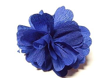 25 Fleurs Couleur Bleu Roi Papier Crepon A Ouvri Decoration De Salle