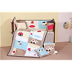 CARS,TRUCK 100% COTTON BABY BOYS CRIB BEDDING SET NURSERY 8 PIECES