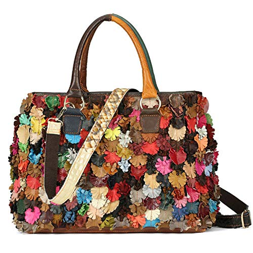 On Clearance Luxury Multicolor Tote Flower Big Shoulder Bag Floral Colorblock Handbag Patchwork (Multi Color Purse Handbag)