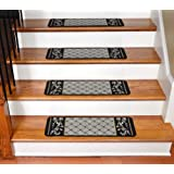 Carpet Stair Treads - Black and Beige Scroll Border