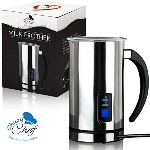 Stainless Steel Milk Warmer - Automatic Electric Milk Frother & Warmer: Digital One Touch Stainless Steel Frothing Pitcher Machine - Hot or Cold Froth Maker & Foamer for Coffee, Cappuccino, Cafe or Chai Latte & Hot Chocolate