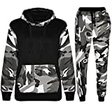 Kids Contrast Cord Fleece Full Zip Up Boys Camo Print Tracksuit Hoodie Gym Pullover Suit Jogging Joggers
