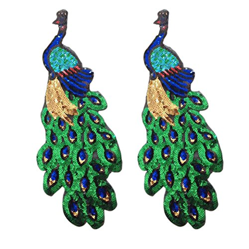 Olpchee 2Pcs Embroidered Sequins Peacock Applique Patches for DIY Sewing Sew Clothing Decoration Accessory (Diy 1980's Costume)