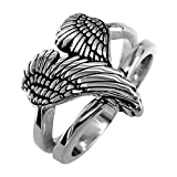 Medium Angel Heart Wings Ring with Black, Wings Of Love, 17mm in Sterling Silver size 13