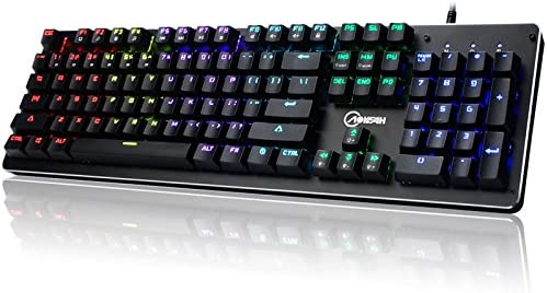 Danankan ゲーミングキーボード 6色バックライト 三重防水 usb有線付き フルサイズ テンキー付き 26キー防衝突 (104キー) (Color : ブラック)