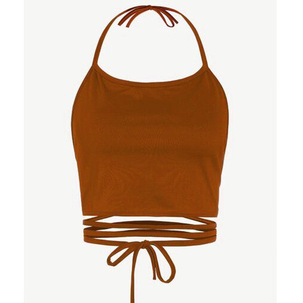 VECDY Camiseta Mujer Chaleco Sin Mangas Color Solido del ...