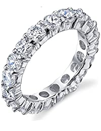 Metal Masters Co. ® 3.50MM Sterling Silver 925 Eternity Ring Engagement Wedding Band Ring with Cubic Zirconia CZ