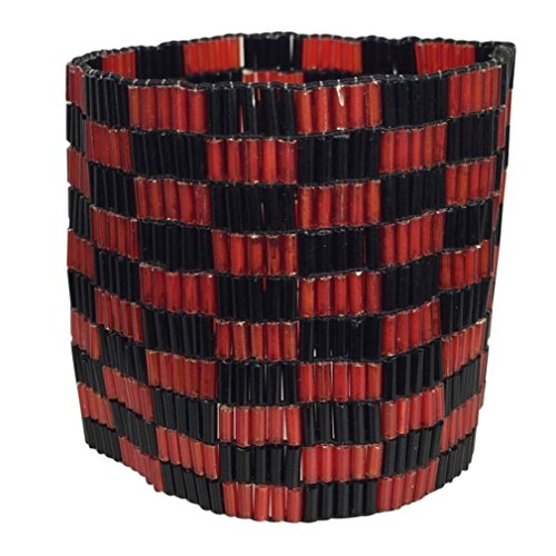 Red & Black Glass Tube Beads Beaded Wide Thick Stretch Bracelet