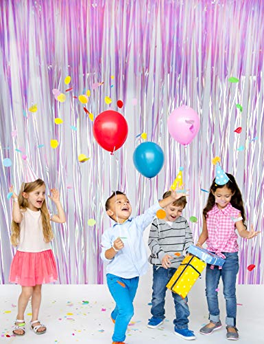 Metallic Tinsel Foil Fringe Curtains - Party Photo Backdrop and Birthday, Wedding Decor(2 pack 3.2 ft x 9.8 ft - Colorful)