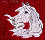Throw with Embroidered White Arabian Horse Head in the Corner (Red)