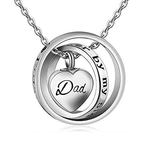 Infinite Memories - No Longer by My Side Forever in My Heart - Dad Cross Rings Pendant Urn Necklace for Cremation Ashes Memorial