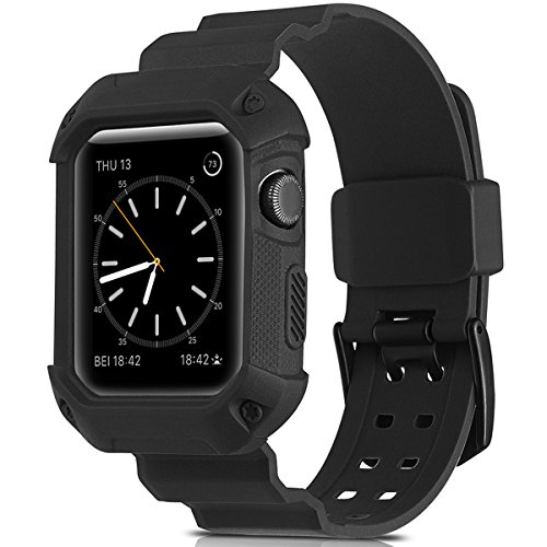 Compatible Apple Watch Band 38mm Case, Camyse Shockproof Rugged Protective Cover with Bands Stainless Steel Clasp for iWatch Apple Watch Series 3, 2, 1 Sport Edition for Men Women grils boys - Black