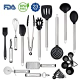 Silicone Cooking Utensils Set, Rackaphile 23 Stainless Steel Silicone Kitchen Utensils Set Nonstick Kitchen Tools and Gadgets Heat Resistant and Non Scratch Perfect for Nonstick Cookware
