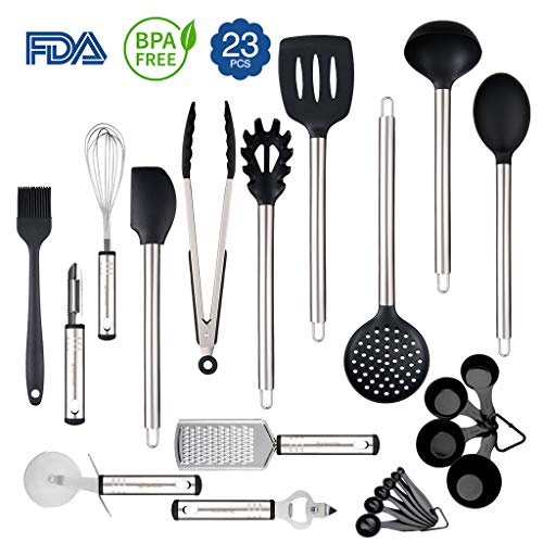 Gadgets Silicone (Silicone Cooking Utensils Set, Rackaphile 23 Stainless Steel Silicone Kitchen Utensils Set Nonstick Kitchen Tools and Gadgets Heat Resistant and Non Scratch Perfect for Nonstick Cookware)