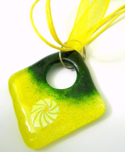 New Yellow and Green Fused Glass Pendant Necklace with Dichroic Glass Swirl and Multiple Strand Silk -
