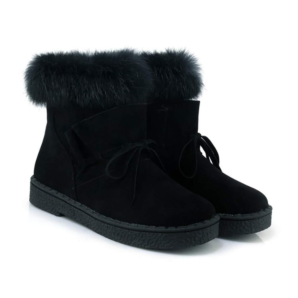 Hy Hy Hy Damen Stiefel Winter Wildleder Plus Kaschmir Warm Winddicht Schnee Stiefel Stiefel Student Slip-Ons Stiefelies Damen Snowboard Outdoor-Übung Snowsports Winter Stiefel (Farbe   Schwarz Größe   34) f91899