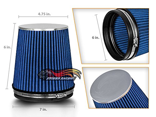 Spectre Performance HPR9891B Universal Clamp-On Air Filter: Round Tapered; 6 in Top SPE-HPR9891B Flange ID; 8.5 in 196 mm 216 mm Base; 5.125 in Height; 7.719 in 130 mm 152 mm