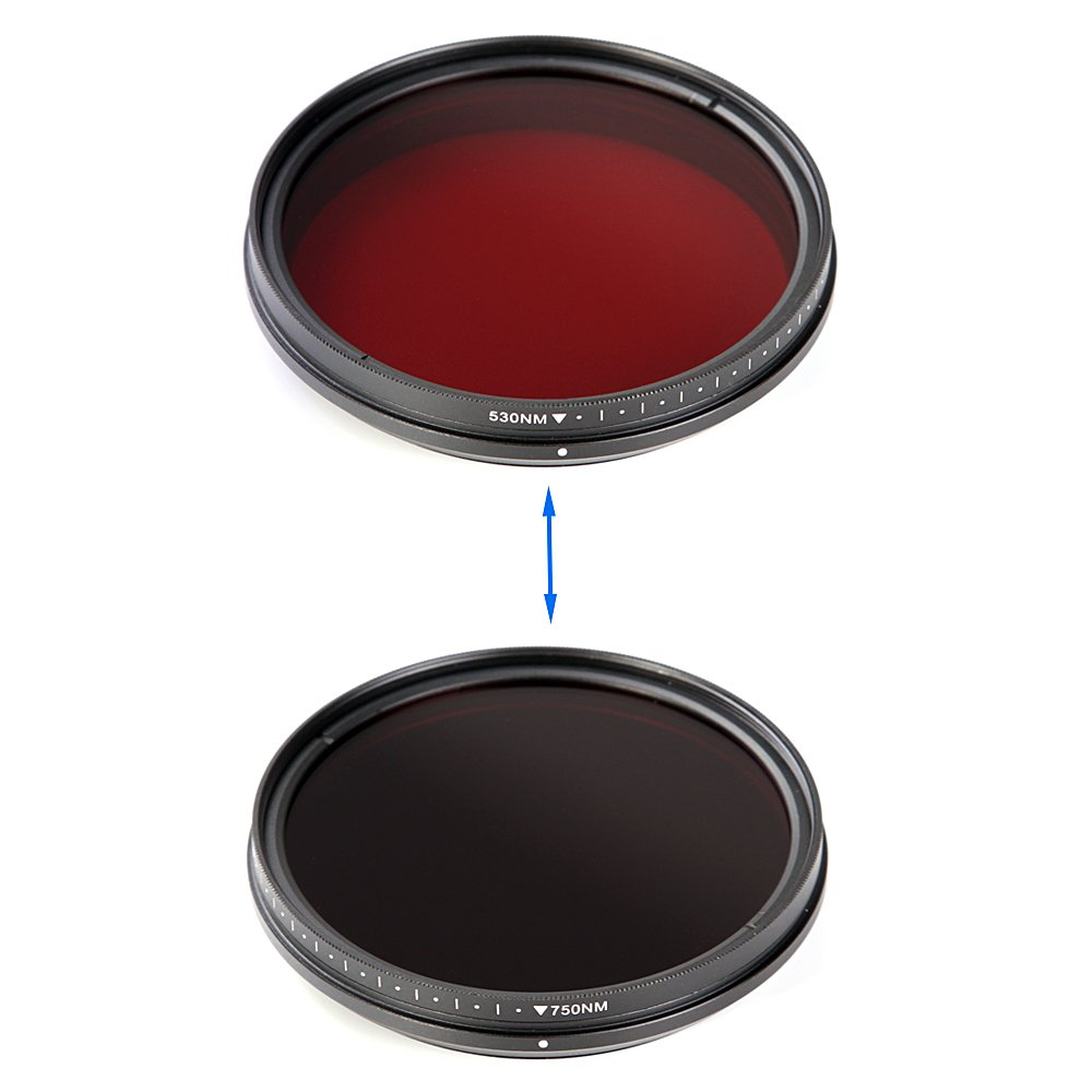 Fotga 77mm Six-in-One Adjustable Infrared IR Pass X-Ray Lens Filter 530nm to 750nm by FOTGA