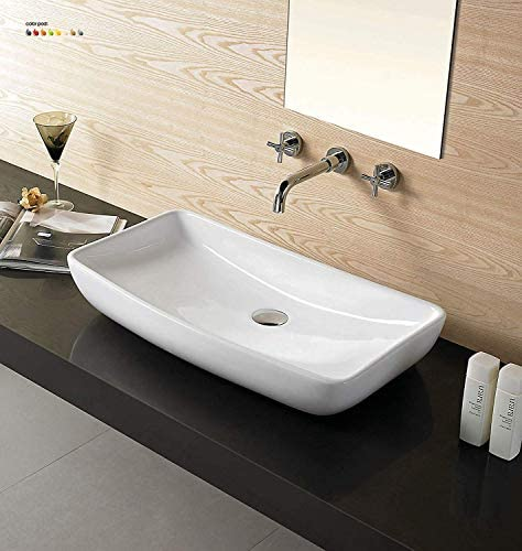 24 Bathroom Porcelain Ceramic Vessel Sink CV7562B no overflow system FreePop Up Drain